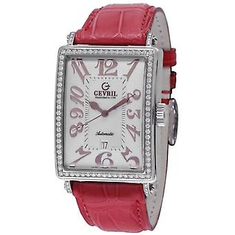 Gevril Kvinnor's 6209RL Glamour Automatisk Diamonds MOP Dial rött läder klocka
