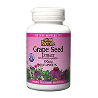 """גורמים טבעיים תמצית זרעי ענבים, 100 מ""""ג, 60 כמוסות"""