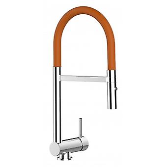 Sous-fenêtre à levier unique Kitchen Sink Mixer Orange Folding Spout And 2 Jets Shower - 125