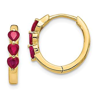 16mm 14k Gold With Created Ruby Polished Hoop Earrings Jewelry Gifts for Women - .84 cwt