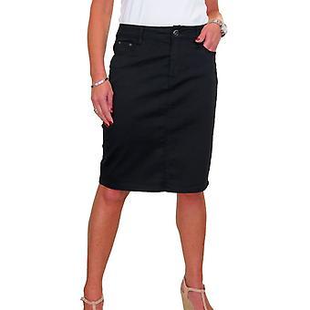 Kvinner's Stretch Chino Sheen Blyant Skjørt Damer Jeans Stil Knelengde Skjørt 10-22