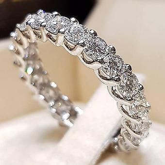 Trendy Crystal Wedding Rings, Women Geometric Luxury White Bridal Rings Jewelry