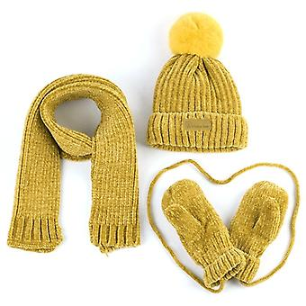 Baby Hat, Scarf, Gloves, Winter Warm Corchet Chenille Slouchy Beanie, And, Kids