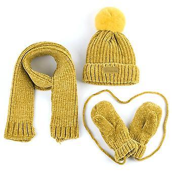 Babymütze, Schal, Handschuhe, Winter warm Corchet Chenille Slouchy Beanie, und, Kinder