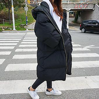 Autumn/winter Warm Thick Long Down Cotton Female Loose Oversized Hooded Coat