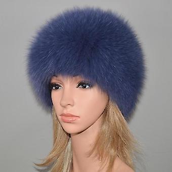 Winter Natural Real Fox Fur Hat Elastic Warm Soft Fluffy Genuine Fox Fur Cap
