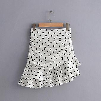 Ασύμμετρες μίνι φούστες, Γυναικεία Polka Dot, Φούστα Βολάν, Καλοκαιρινό Πάρτι