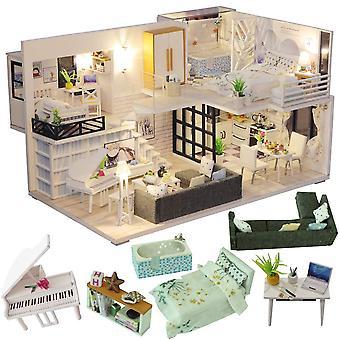 Cutebee nukkekoti miniatyyri huonekalut, diy nukkekoti sarja plus pölynkestävä ja musiikin liike, 1: