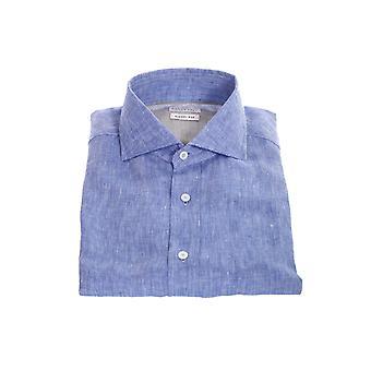 Brunello Cucinelli Mb6080028c010 Hombres's camisa de lino azul claro