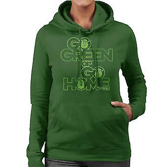Shrek Go Green Of Go Home Women's Hooded Sweatshirt