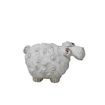 Carved Sheep Sculpture In Polyresin, Small, White