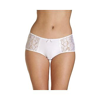 Camille Womens White Lace Panel Jacquard 3 Pack Boxer Shorts