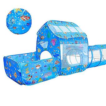 Leketelt for barn med tunnel 3-delt sett, innendørs og utendørs hav lekehus
