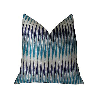 "Plutus Thames River Cobalt Handmadethrow Pillow, (Doppio lato 12"" X 20"")"