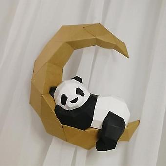 3d Paper Model Handmade Moon Panda Diy Wall Papercraft