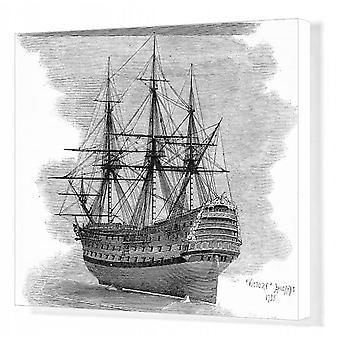 Model van HMS Victory uit 1737. Afdrukken van vakcanvas. Model van HMS Victory, zoals weergegeven in het zuiden.