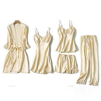 Spring Autumn Silk Wear Home Nightwear