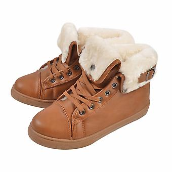 Womens Flat Faux Fur Lined Grip Sole Winter Ankle Boots-Brown