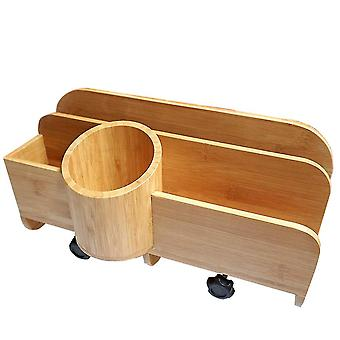 Hanging small bed organizer with floating shelf, durable bamboo compartment organizer