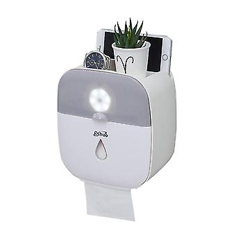 Tissue Box, Adhesive Toilet Paper Holder with Body Induction Lamp, Shelf for Bathroom Waterproof