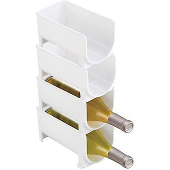 mDesign Vertical Stacking Wine Rack - Crystal Clear Bottle Rack - Horizontal Wine Holder Extends