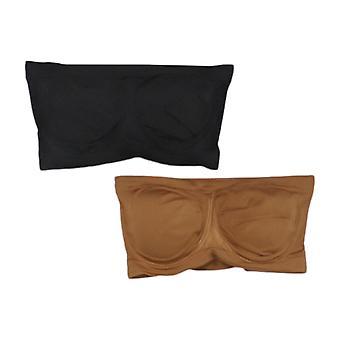 Rhonda Shear 2-pack Underwire Bandeau con almohadillas extraíbles Brown Bra 652682