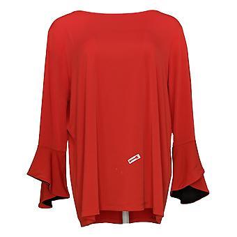 Susan Graver Women's Top Liquid Knit Bell Sleeve Pop Lining Red A307900