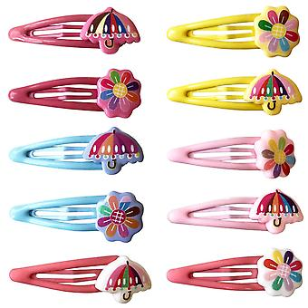 10x Hair clips - Umbrellas and Flowers