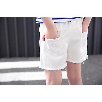 מכנסיים קצרים קרוע חור מכנסי ג'ינס, מכנסי ג'ינס כותנה מוצקה מזדמנים