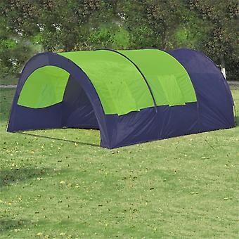 vidaXL خيمة التخييم 6 الناس النسيج الأزرق / الأخضر