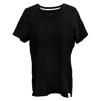 Isaac Mizrahi En direct! Women's Top V Neck Tunic W/ Side Slits Black A284876