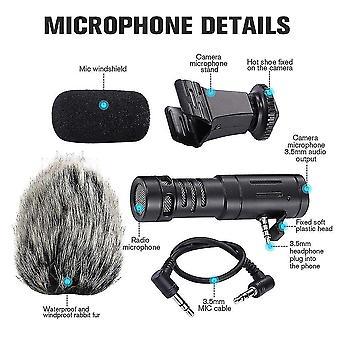 Taşınabilir kamera mikrofonu, tavşan kılı video röportaj mikrofon yönlü kayıt av tüfeği mikrofonu iphone için şok montajlı