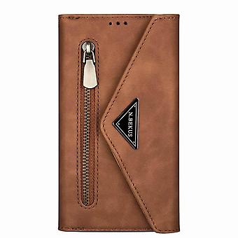 Shockproof leather case with wrist strap for Samsung Galaxy S9 - Brown