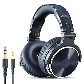 """אוזניות OneOdio Studio עם חיבור AUX בגודל 6.35 מ""""מ ו-3.5 מ""""מ - אוזניות עם אוזניות DJ מיקרופון כחולות"""