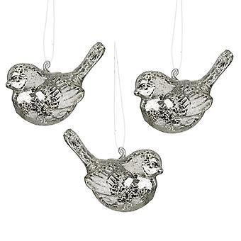 Heaven Sends Set Of 3 Glass Bird Christmas Baubles