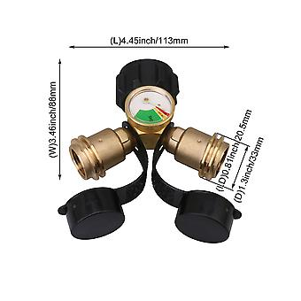 Brass Y-Splitter Tee Adapter with Pressure Gauge for 5-100lb Gas Tank