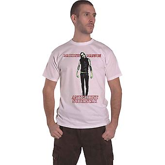 Marilyn Manson T Shirt Antichrist Superstar Band Logo Official Mens New White