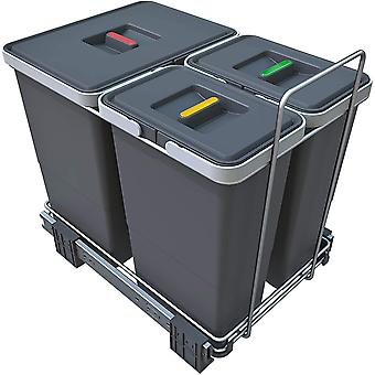 FengChun Ecofil PF0134B1Mlleimer Mlltrennung, ausziehbar fr Base, Kunststoff und Metall, Grau, 30x