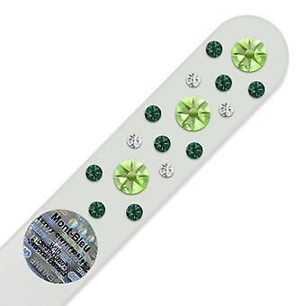 Glas Nagelfeile mit Swarovski-Kristallen CNW-M - Peridot - Smaragd