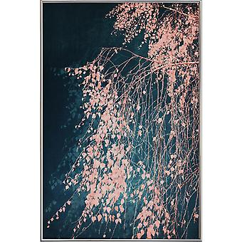 JUNIQE Print - Viskningar av dammig rosa - Träd Affisch i Blått & Rosa