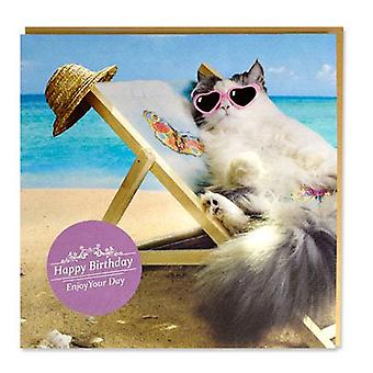 Magnet & Steel Card Cat in beach chair (Cats , Training Aids , Anti-Stress)