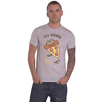 Pusheen T Shirt You Wanna Pizza Me Logo new Official Unisex Grey