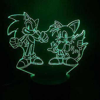 Sonic The Hedgehog 3d Led Night Light Kids Slaapkamer Tafellamp