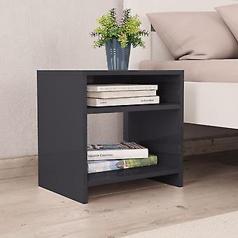 vidaXL طاولة السرير عالية اللمعان الرمادي 40 × 30 × 40 سم اللوح