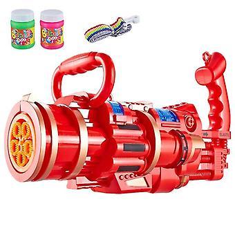 Kinder Automatische Gatling Bubble Gun Spielzeug Sommer Seife Wasser Bubble Maschine 2 in 1 Elektrisch (rot)