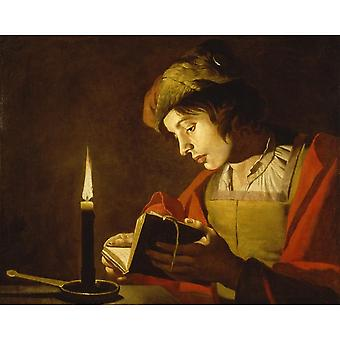 Young Man Reading By Candle Light,matthias Stom Art Reproduction.tenebrism Modern Hd Art Print Poster,canvas Prints Wall Art For Home Decor Pictures