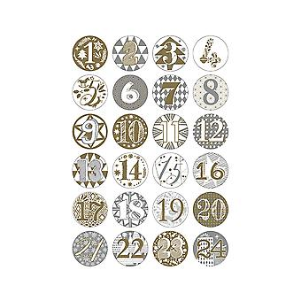 24 Numbered Badges for Advent Calendar Crafts - Gold & Silver