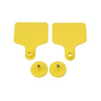 100 Pcs Cattle Ear Tags Set Blank Yellow