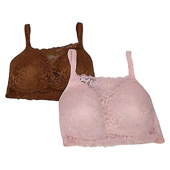 Rhonda Shear 2-Pack Lace Overlay Molded Cup Soutien-gorge Rose 720493