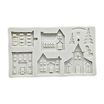 Casa de Navidad Castillo Árbol Hielo Nieve Molde de silicona para fondant pastel de decoración herramientas moldes de pastel